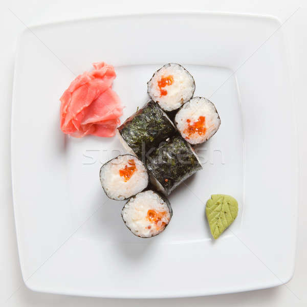 Maki Sushi on plate isolated on white Stock photo © artjazz