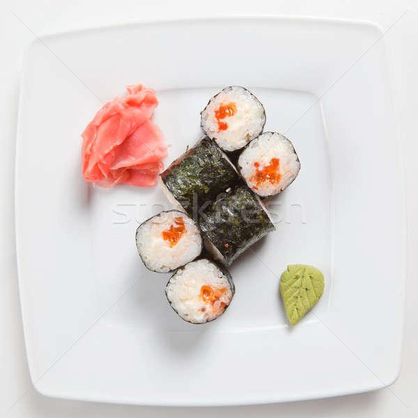 Maki sushi prato isolado branco comida Foto stock © artjazz
