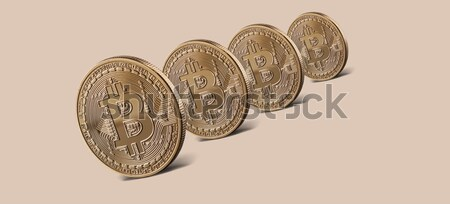 Stock photo: Coins gold bitcoin virtual crypto currency