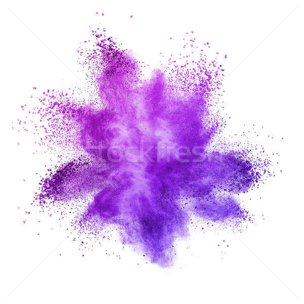 Stock photo: Explosion of colored powder, isolated on ultra violet background.