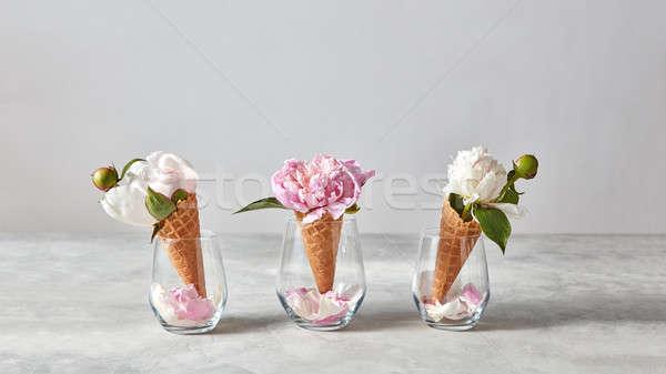 Roze witte bloemen wafeltje kegel Stockfoto © artjazz