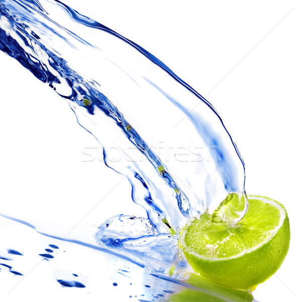 fresh water drops on lime isolated on white Stock photo © artjazz