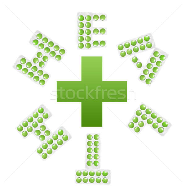 health and cross. letters from packs of tablet isolated on white Stock photo © artjazz