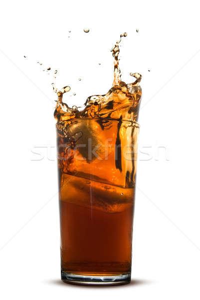 Belle Splash Cola verre isolé blanche Photo stock © artjazz