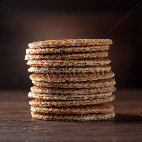 Karmel drewna tabeli śniadanie jedzenie Zdjęcia stock © artjazz