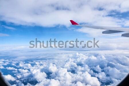 雲 空 ウィンドウ 航空機 翼 飛行機 ストックフォト © artjazz