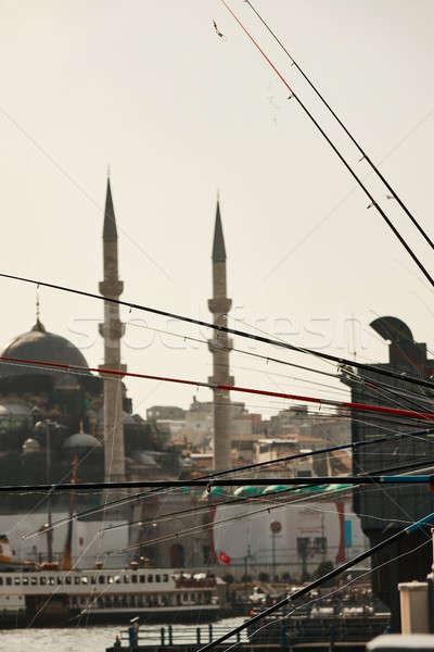 Kilátás múzeum Isztambul Törökország híd halászat Stock fotó © artjazz