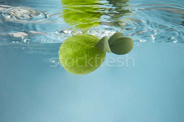 Green lime in water on a blue background Stock photo © artjazz