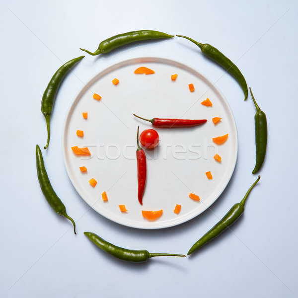 Sliced sweet peppers are laid out on a plate in the form of a clock on a gray background Stock photo © artjazz