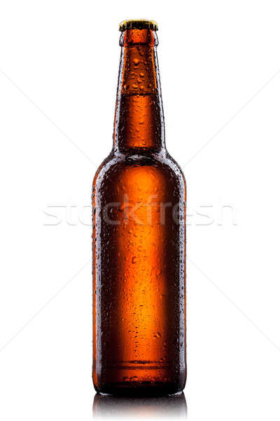 Beer bottle with water drops isolated on white  Stock photo © artjazz