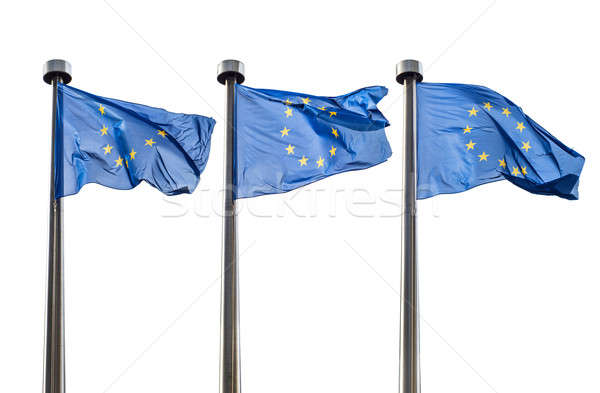 European Union flags isolated on white Stock photo © artjazz