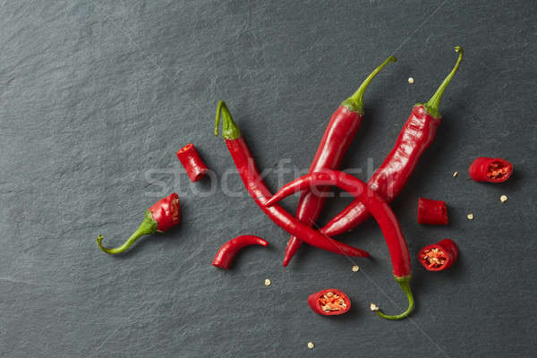 Sliced fresh red chillies isolated Stock photo © artjazz