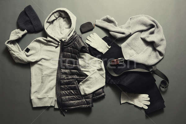 Fashionable men's warm clothes and accessories Stock photo © artjazz
