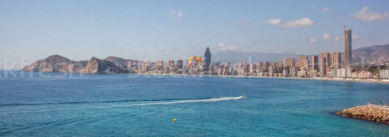 Cidade scape panorama pequeno navegação praia nuvens Foto stock © artjazz
