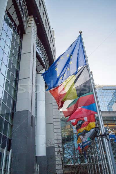 Vlaggen europese parlement Brussel België hemel Stockfoto © artjazz