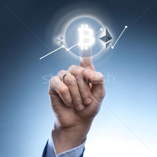 Adam ikon bitcoin sanal ekran el Stok fotoğraf © artjazz