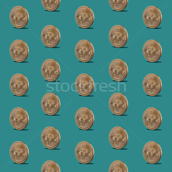 Pattern seamless of gold coins of bitcoins Stock photo © artjazz