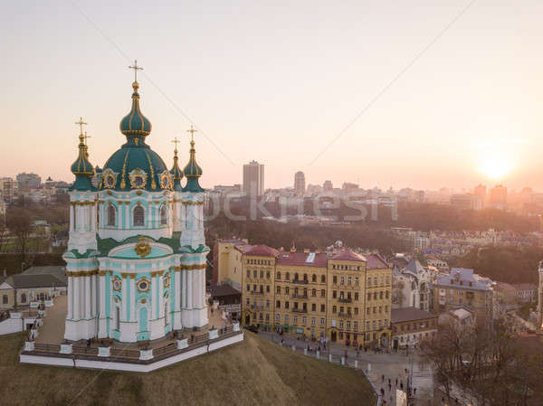 View of St. Andrew's Church and the historical Podol part of the city Kiev, Ukraine Stock photo © artjazz