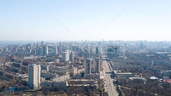 Beautiful area of kiev near the city center at sunrise time, aerial photography in Kiev, Ukraine. Stock photo © artjazz