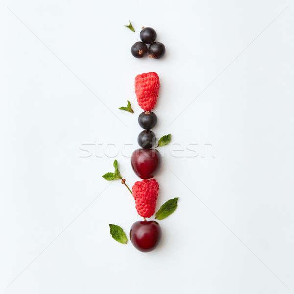 Gyümölcsök színes minta i betű angol ábécé Stock fotó © artjazz