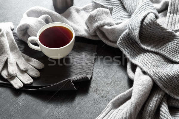 Cup of hot coffee on a black table Stock photo © artjazz