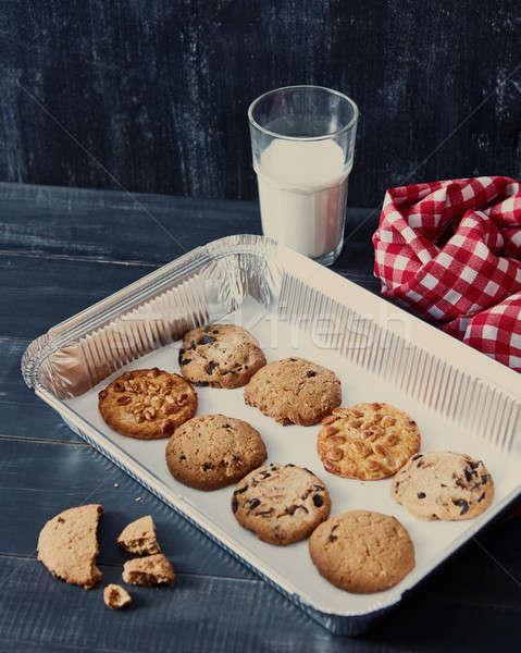 Dienblad eigengemaakt cookies pinda's Stockfoto © artjazz