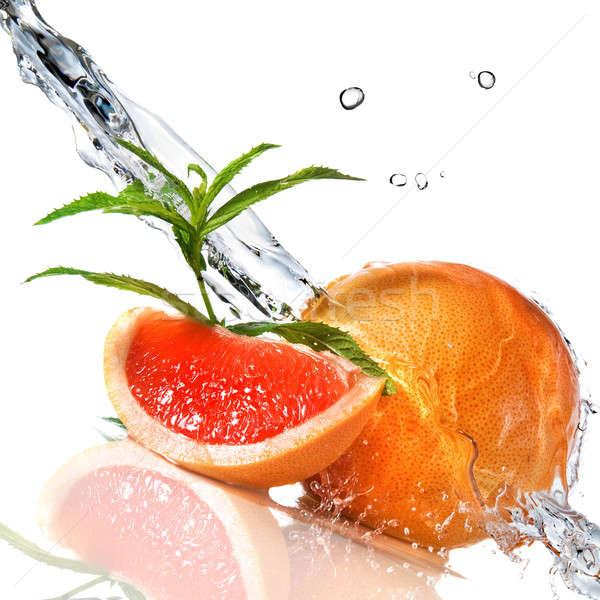 Grapefruit mint isoliert Wildwasser splash Stock foto © artjazz