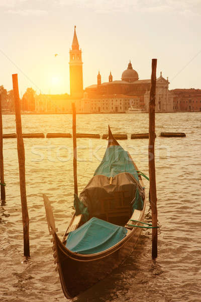 Sunset view of Venice with gondola on Grand Canal Stock photo © artjazz