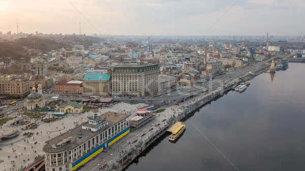 From the bird's eye view of the river station, Postal Square with St. Elijah Church , tourist boats  Stock photo © artjazz