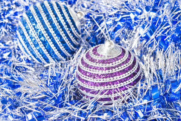 pink and blue christmas balls with decoration Stock photo © artjazz