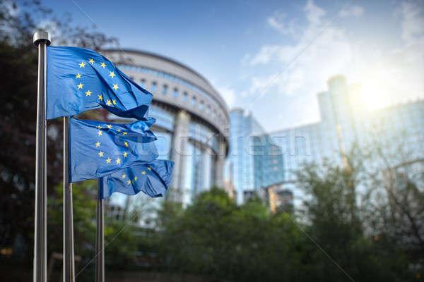 Europeo Unión bandera parlamento Bruselas Bélgica Foto stock © artjazz