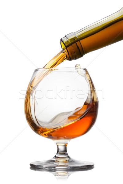 Conhaque vidro salpico isolado branco Foto stock © artjazz