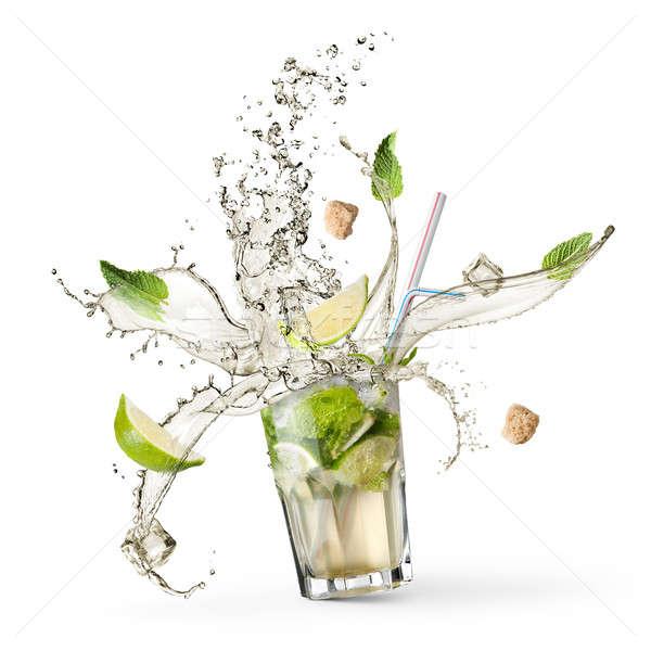 Ingredienti mojito acqua cadere vetro Foto d'archivio © artjazz