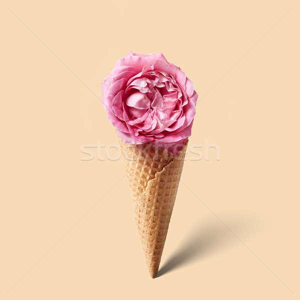 ワッフル 花 ピンクの花 孤立した ベージュ 食品 ストックフォト © artjazz