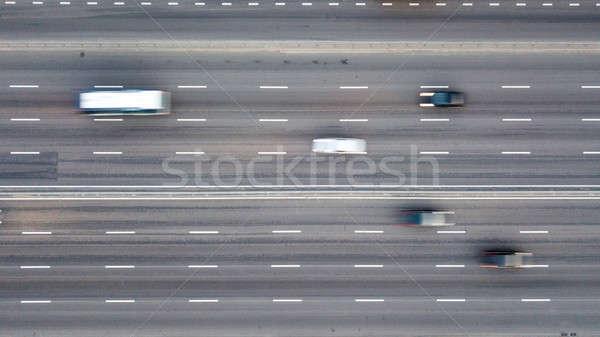 Foto stock: Diretamente · acima · estrada · rodovia · carros
