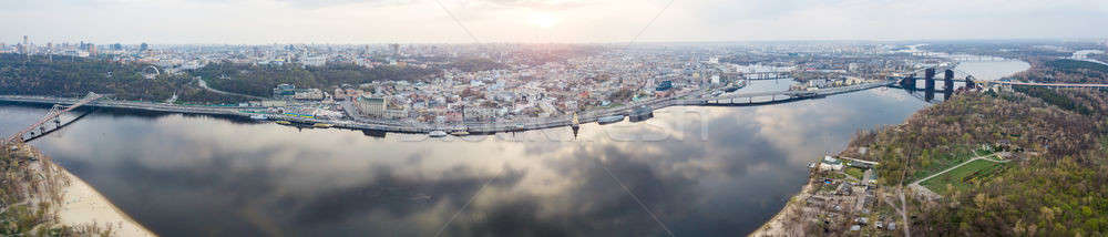 panorama of the left part of the city of Kyiv across the Dnieper river with bridges Stock photo © artjazz