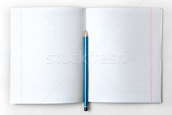 open empty notebook with lined pages and pencil Stock photo © artjazz