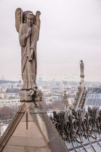 Angyal játszik duda katedrális hölgy Párizs Stock fotó © artjazz