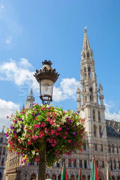 Stadhuis gebouw plaats Brussel België Blauw Stockfoto © artjazz