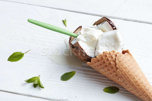 Ice cream in waffle cone Stock photo © artjazz