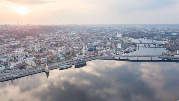 Aerial top view of Dnepr river and Podol district from above, Kiev (Kyiv) city, Ukraine Stock photo © artjazz