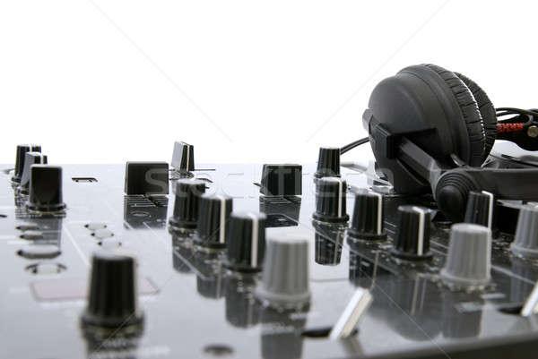Stockfoto: Mixer · hoofdtelefoon · geïsoleerd · witte · plaat · draaitafel