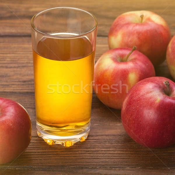 üveg almalé piros almák fa fából készült Stock fotó © artjazz