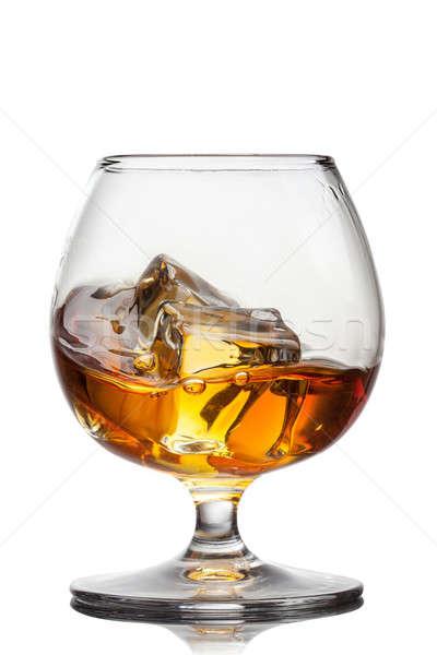 Csobbanás whiskey jég üveg izolált fehér Stock fotó © artjazz