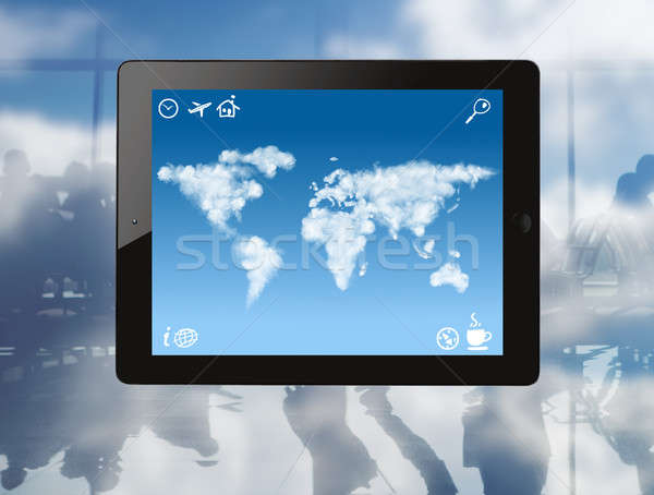 Ipad mapa del mundo nubes Screen iconos Foto stock © artjazz