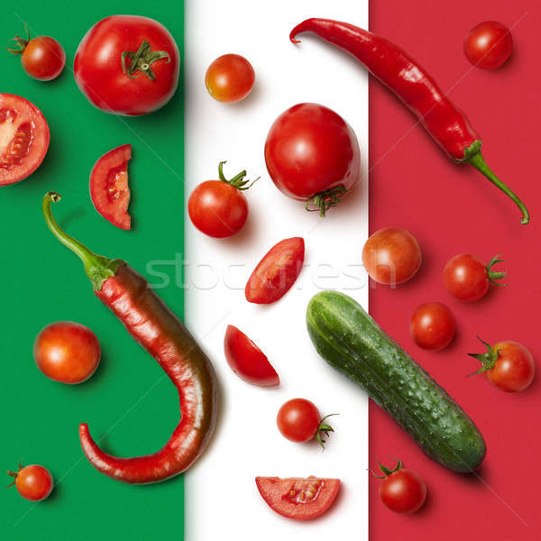 Stok fotoğraf: Sebze · İtalyan · üç · renkli · malzemeler · salata · doku