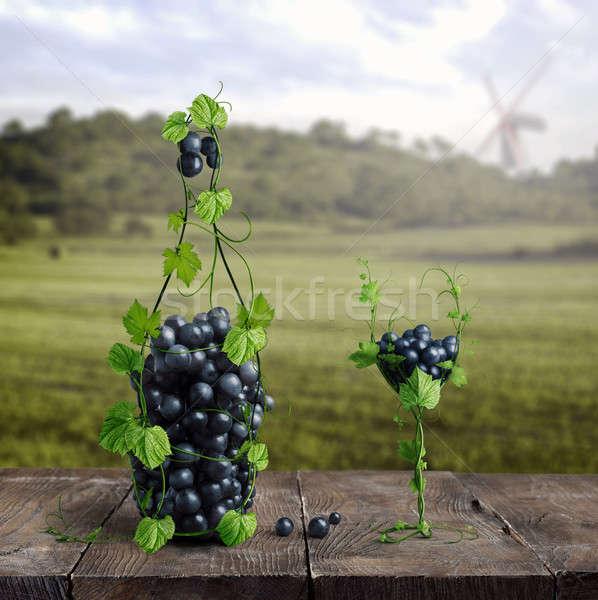Uvas um vidro vinho vinha Foto stock © artjazz