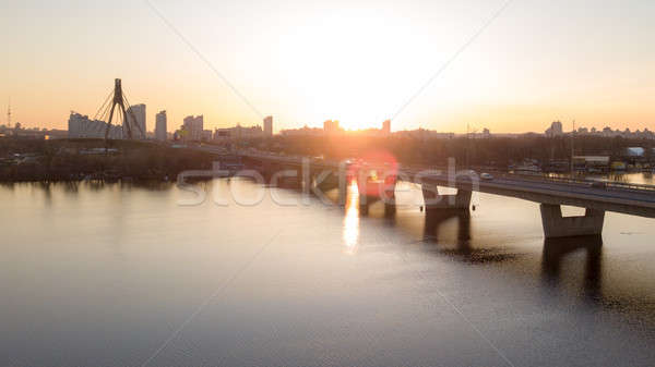 The South bridge at sunset in Kiev city, Ukraine. Stock photo © artjazz
