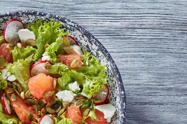 Kwartaal plaat vegetarisch salade natuurlijke organisch Stockfoto © artjazz