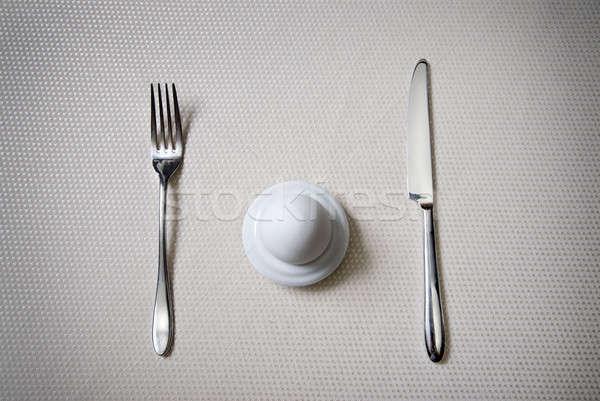 Egy tojás kés villa szín reggeli Stock fotó © artjazz